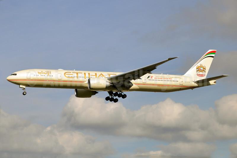 Etihad Airways Boeing 777-3FX ER A6-ETN (msn 39689) (Abu Dhabi Grand Prix 2013) LHR (Karl Cornil). Image: 913927.