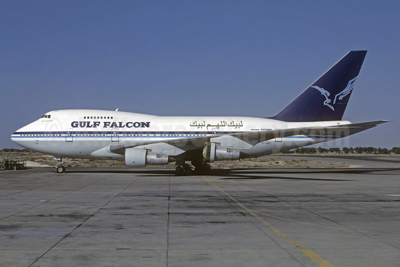 Gulf Falcon (Air Gulf Falcon) Boeing 747SP-09 5Y-GFC (msn 21300) (Mandarin Airlines colors) SHJ (Jacques Guillem Collection). Image: 932047.