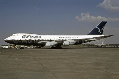 Gulf Falcon Boeing 747-136 3D-GFB (msn 20953) (British Airways basic livery) SHJ (Bruce Drum Collection). Image: 944804.