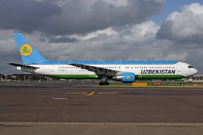Uzbekistan Airways Boeing 767-33P ER VP-BUF (msn 33078) LHR. Image: 937009.