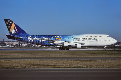 "Ansett's 1998 blue version of the ""Sydney 2000"" logo jet"