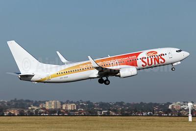 Virgin Blue Airlines Boeing 737-8FE VH-VUZ (msn 39921) (Virgin Blue proudly flying the Gold Coast Suns) SYD (John Adlard). Image: 906084.