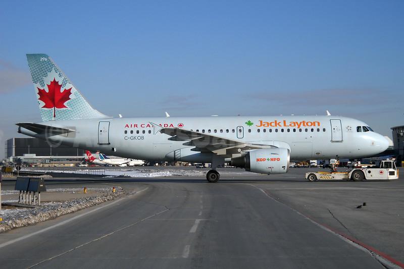 Air Canada Jetz (Air Canada) Airbus A319-112 C-GKOB (msn 1853) (Jack Layton) YYZ (TMK Photography). Image: 908197.