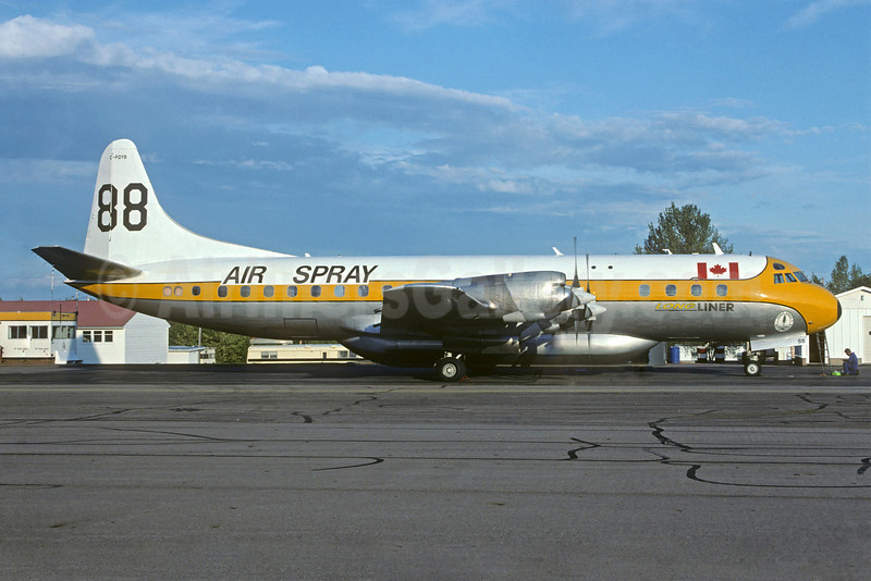 """Air Spray Lockheed 188A Electra (Tanker) C-FQYB (msn 1063) """"Long Liner"""" YYE (Christian Volpati Collection). Image: 922554."""