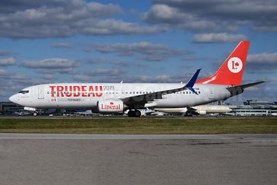 Trudeau 2019 - Liberal Party (Air Transat) Boeing 737-8Q8 SSWL C-GTQB (msn 30696) YYZ (TMK Photography). Image: 947924.