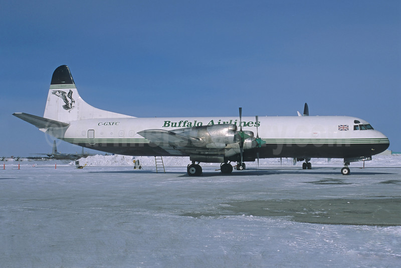 Buffalo Airlines (Buffalo Airways) (Canada) Lockheed 188C (F) Electra C-GXFC (msn 1100 (Atlantic Airlines colors) (Jacques Guillem Collection). Image: 928352.