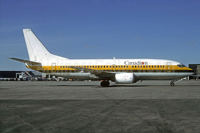 Canadian Airlines International Boeing 737-3Y0 C-FPWD (msn 23495) (Monarch colors) YVR (Christian Volpati Collection). Image: 936101.