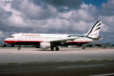 Canadian Airlines International Airbus A320-211 C-FNVV (msn 404) MIA (Bruce Drum). Image: 103078.