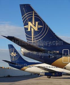 Nolinor Aviation Boeing 737-2B6C C-GTUK (msn 23049) and Boeing 737-2K2C C-GNLK (msn 20836) YYZ (TMK Photography). Image: 929169.