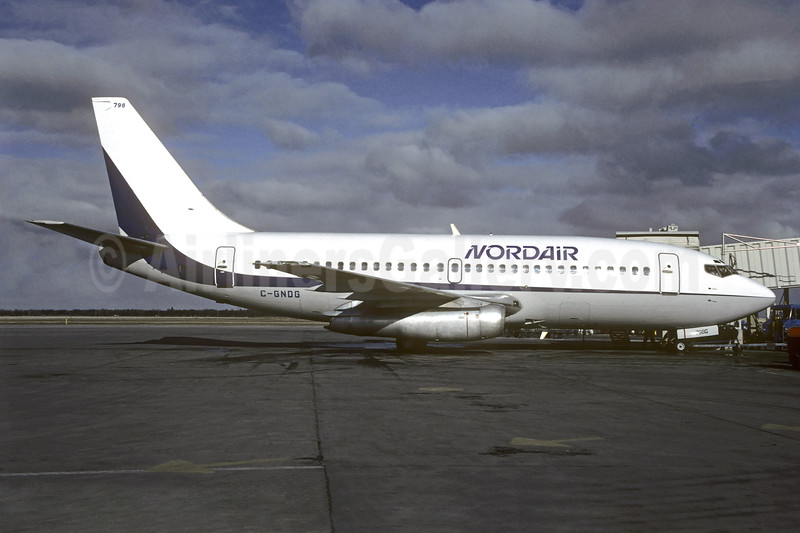 Nordair Boeing 737-2T4 C-GNDG (msn 22054) (Dan-Air basic colors) YWG (Christian Volopati Collection). Image: 938927.