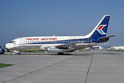 Pacific Western Airlines Boeing 737-275 C-GJPW (msn 21713) YVR (John Kimberley - Rob Rindt Collection). Image: 948581.