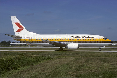 Pacific Western Airlines Boeing 737-3Y0 C-FPWD (msn 23495) (Monarch Airlines colors) FLL (Christian Volpati Collection). Image: 925759.