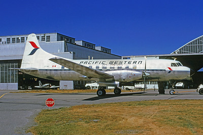 Pacific Western Airlines Convair 640 CF-PWO (msn 463) YVR (Bruce Drum). Image: 103304.