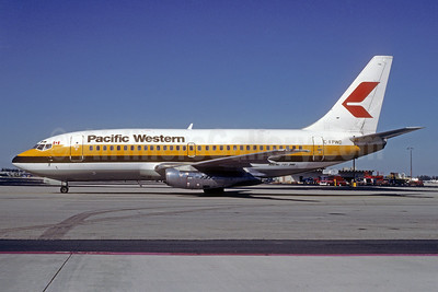 Pacific Western Airlines Boeing 737-2T7 C-FPWD (msn 22761) (Monarch Airlines colors) MIA (Bruce Drum). Image: 103307.