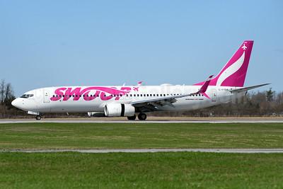 Swoop (WestJet) Boeing 737-8CT SSWL C-FYBK (msn 40336) YHM (TMK Photography). Image: 946775.