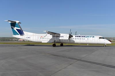 WestJet Encore Bombardier DHC-8-402 (Q400) C-GWEO (msn 4462) YYC (Ton Jochems). Image: 928309.