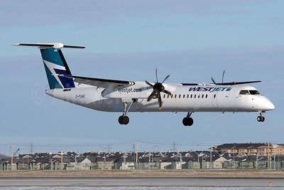WestJet Encore Bombardier DHC-8-402 (Q400) C-FQWE (msn 4473) YYC (Chris Sands). Image: 928067.