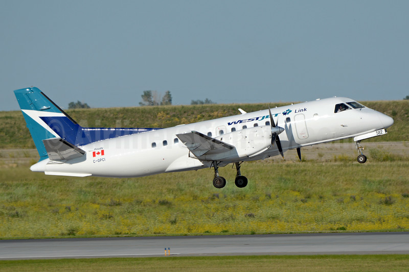 WestJet Link - Pacific Coastal Airlines SAAB 340B C-GPCI (msn 407) YYC (Chris Sands). Image: 943492.