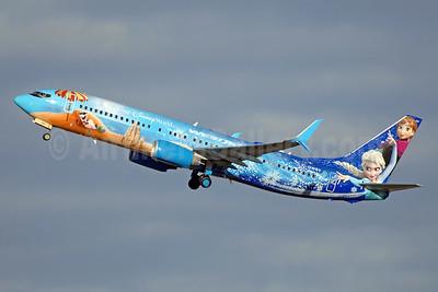 Stunning view of WestJet's Frozen logo jet