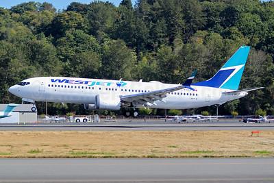 The Boeing 737-8 MAX 8 for WestJet, delivered on September 29, 2017
