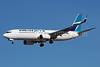 WestJet Airlines Boeing 737-8CT SSWL C-GJLZ (msn 60125) LAS (Bruce Drum). Image: 103846.
