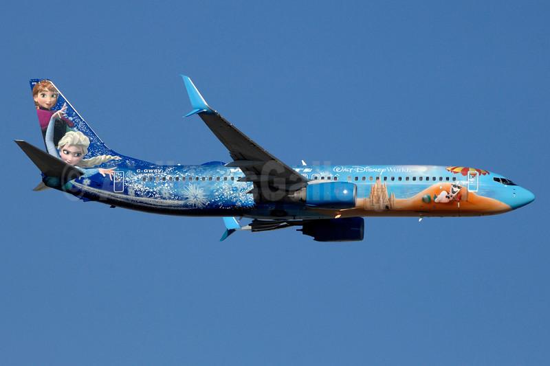 WestJet Airlines Boeing 737-8CT SSWL C-GWSV (msn 37158) (Walt Disney World - Frozen) YYZ (TMK Photography). Image: 937276.