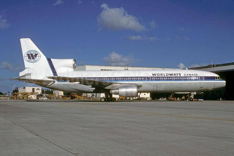Worldways Canada Lockheed L-1011-385-1-15 TriStar 100 C-GIES (msn 1064) MIA (Bruce Drum). Image: 104059.