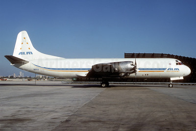 ALM Antillean Airlines (TPI International Airways) Lockheed 188A (F) Electra N665F (msn 1100) MIA (Bruce Drum). Image: 102687.