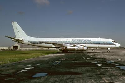 Quisqueyana (Aerovías Quisqueyana) McDonnell Douglas DC-8-21 N8610 (msn 45431) (Eastern Airlines colors) MIA (Bruce Drum). Image: 103771.