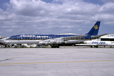 Hispaniola Airways (1st) McDonnell Douglas DC-8-55 N819SL (msn 45854) (Holidair colors) MIA (Bruce Drum). Image: 105138.
