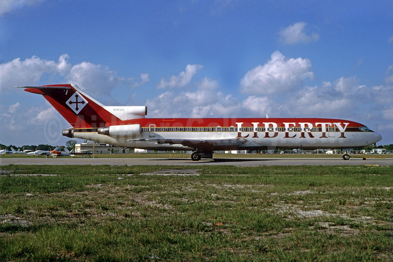 Liberty Airlines (St. Kitts and Nevis) Boeing 727-231 N74318 (msn 20051) (UltrAir colors) OPF (Bruce Drum). Image: 102582.