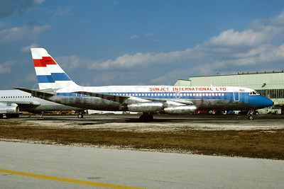 Sunset International Airlines Ltd. - The St. Kitts/Nevis Airlines Convair 880-22M-21 N48063 (msn 56) (Four Winds colors) MIA (Bruce Drum). Image: 105005.
