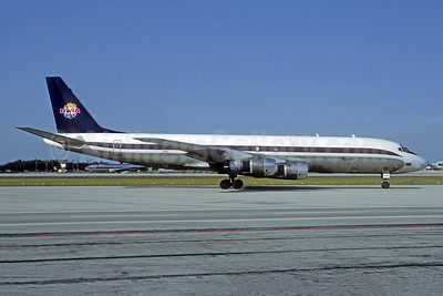 BWIA (Fine Air) McDonnell Douglas DC-8F-54 Jet Trader N426FB (msn 45667) (Fine Air colors) MIA (Christian Volpati Collection). Image: 949859.