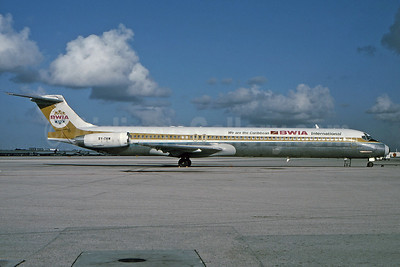 BWIA International McDonnell Douglas DC-9-83 (MD-83) 9Y-THW (msn 49786) (We are the Caribbean) MIA (Bruce Drum). Image: 100539.