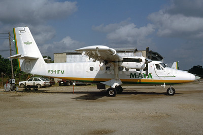 Maya Airways de Havilland Canada DHC-6-300 Twin Otter V3-HFM (msn 402) TZA (Bruce Drum). Image: 104405