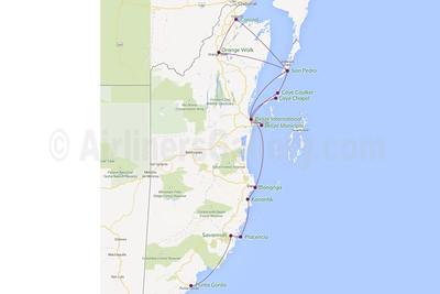 Maya Island Air Route Map
