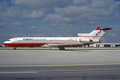 LACSA-Lineas Aereas de Costa Rica (Sterlin Airways) Boeing 727-2K3 OY-SBO (msn 22770) (Sterling colors) MIA (Bruce Drum). Image: 103876.