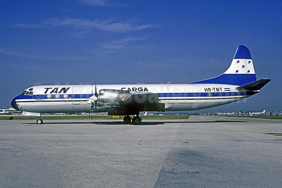 TAN Airlines Carga (Transportes Aereos de Nacionales) (Honduras) Lockheed 188A Electra HR-TNT (msn 1060) MIA (Bruce Drum). Image: 105037.