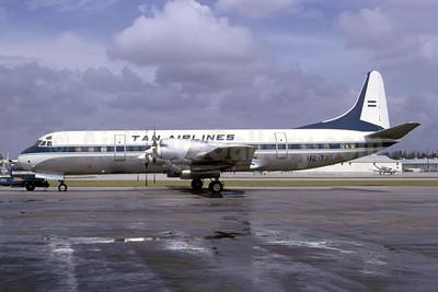 TAN Airlines (Transportes Aereos de Nacionales) (Honduras) Lockheed 188C Electra HR-TNL (msn 1134) MIA (Bruce Drum). Image: 105356.