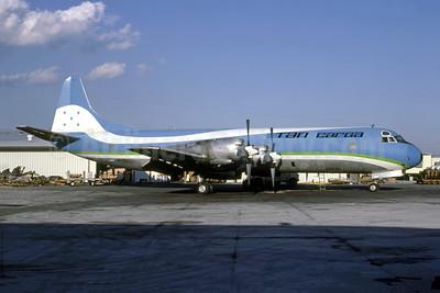 TAN Airlines Carga (Transportes Aereos de Nacionales) (Honduras) Lockheed 188A Electra HR-TNT (msn 1060) (SAHSA colors) MIA (Keith Armes). Image: 950916.