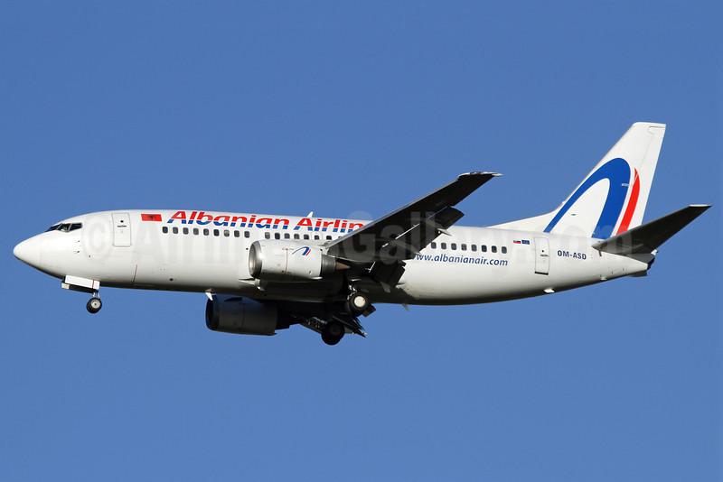 Albanian Airlines (Air Slovakia) Boeing 737-306 OM-ASD (msn 23542) STN (John Ballantyne). Image: 904217.