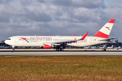 Austrian.com - my Austrian (Austrian Airlines) Boeing 767-3Z9 ER WL OE-LAY (msn 29867) (Life Ball - Vienna) MIA (Bruce Drum). Image: 104657.