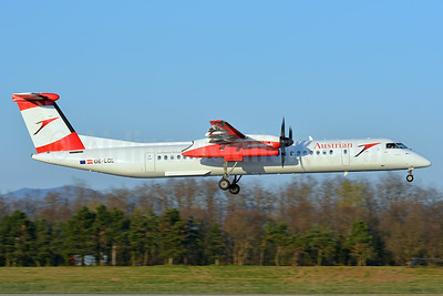 Austrian Airlines Bombardier DHC-8-402 (Q400) OE-LGL (msn 4310) BSL (Paul Bannwarth). Image: 937406.