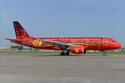 """Brussels Airlines' 2016 Belgian Red Devils logo jet - named """"Trident"""""""