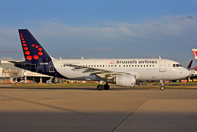 Brussels Airlines Airbus A319-112 OO-SSN (msn 1963) LHR (SPA). Image: 940726.