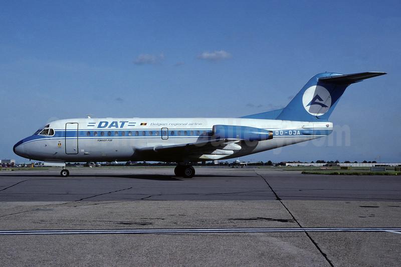 DAT (Delta Air Transport) Fokker F.28 Mk. 3000 OO-DJA (msn 11163) LHR (Richard Vandervord). Image: 935402.