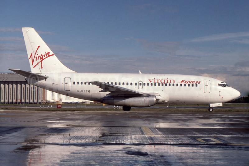 Virgin Express (Belgium) Boeing 737-204 G-BECG (msn 21335) LHR (SPA). Image: 932023.