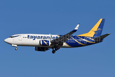 Tayaranjet Boeing 737-3H4 LZ-SIA (msn 28399) (hybrid FlyAman livery) MXP (Richard Vandervord). Image: 949355.
