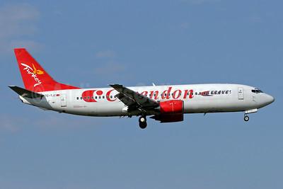Travel Service Airlines (Czech Republic) (Corendon Air) Boeing 737-4Q8 TC-TJC (msn 25374) (Corendon Air colors) TLS (Eurospot). Image: 902639.