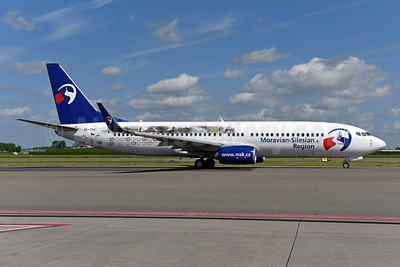 Travel Service Airlines' promotional Moravian-Silesian logo jet